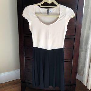 Cream and black cotton dress